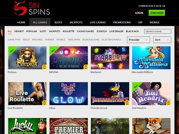 Sin Spins Casino Software Preview