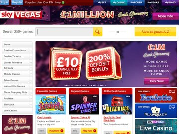 Sky Vegas Casino Homepage Preview