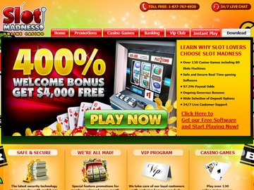 Slot Madness Casino Homepage Preview