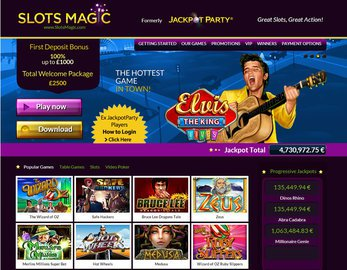 Slots Magic Casino Homepage Preview