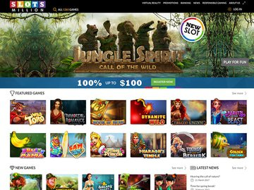 Slots Million Casino Homepage Preview