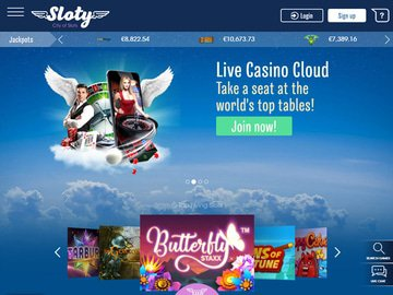 Sloty Casino Homepage Preview
