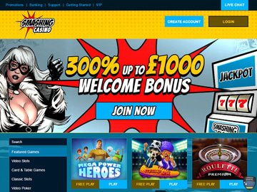 Smashing Casino Homepage Preview