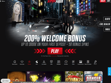 Spin Rider Casino Homepage Preview