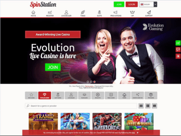 Spin Station Casino Homepage Preview