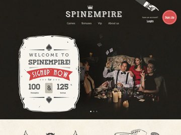 SpinEmpire Casino Homepage Preview