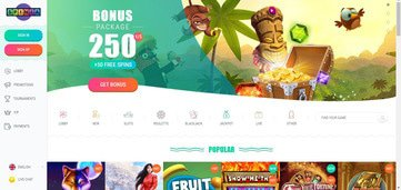 Spinia Casino Homepage Preview