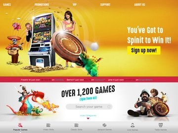 SpinIT Casino Homepage Preview