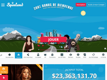 Spinland Casino Homepage Preview