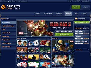 Sports Interaction Casino Homepage Preview