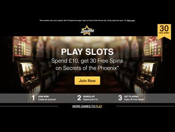Starspins Casino Homepage Preview