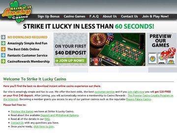 Strike It Lucky Casino Homepage Preview