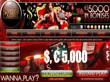Superior Casino Homepage Preview