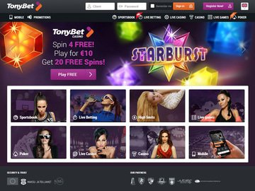 TonyBet Casino Homepage Preview