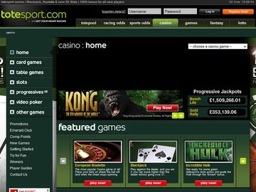 Totesport Casino Homepage Preview