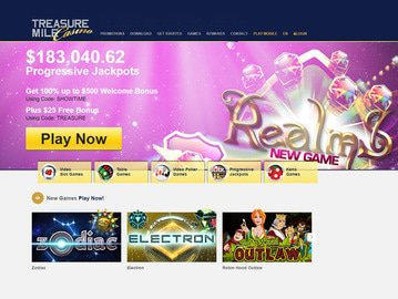 Treasure Mile Casino Homepage Preview