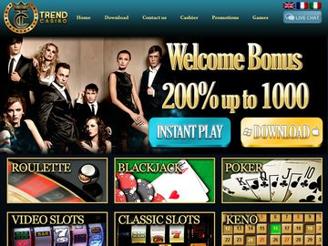 Trend Casino Homepage Preview