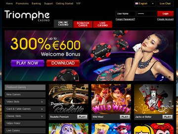 Triomphe Casino Homepage Preview