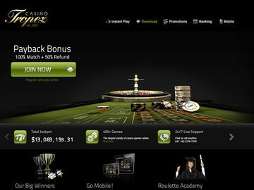 Tropez Casino Homepage Preview