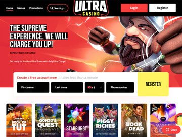 Ultra Casino Homepage Preview