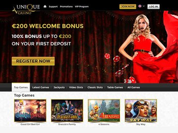 Unique Casino Homepage Preview