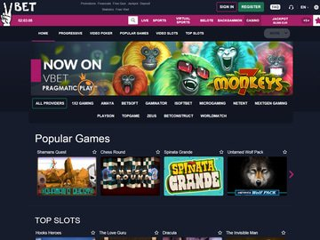 Vbet Casino Homepage Preview