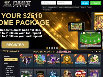 Vegas Crest Casino Homepage Preview