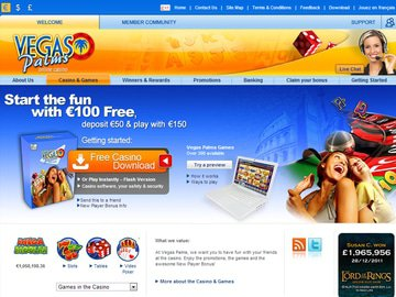 Vegas Palms Casino Homepage Preview