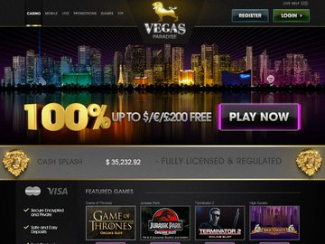 Vegas Paradise Casino Homepage Preview
