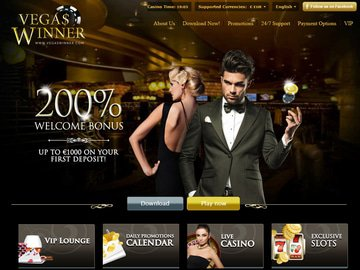 Vegas Winner Casino Homepage Preview