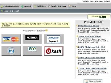 Vegas2Web Casino Cashier Preview