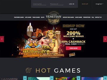 Venetian Casino Homepage Preview