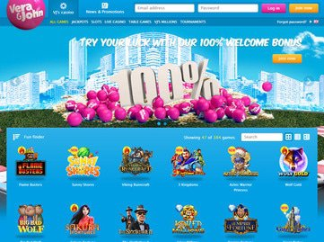 Vera John Casino Homepage Preview