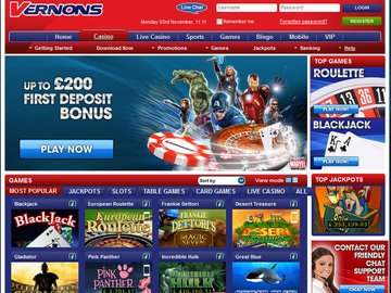 Vernons Casino Homepage Preview