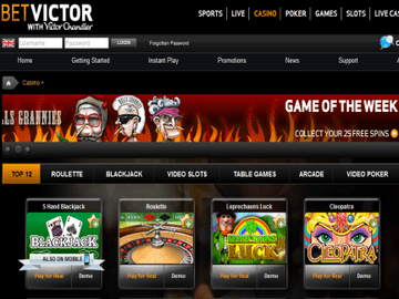 Victor Chandler Casino Homepage Preview