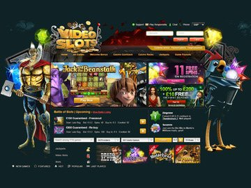 VideoSlots Casino Homepage Preview