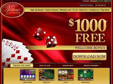 Villento Casino Homepage Preview