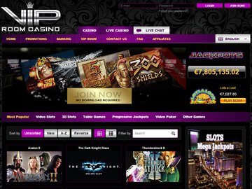 VIP Room Casino Homepage Preview