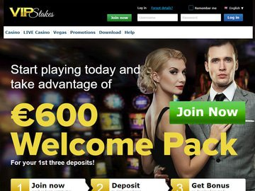 VIP Stakes Casino Homepage Preview