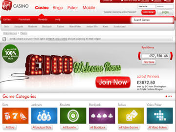 Virgin Casino Homepage Preview