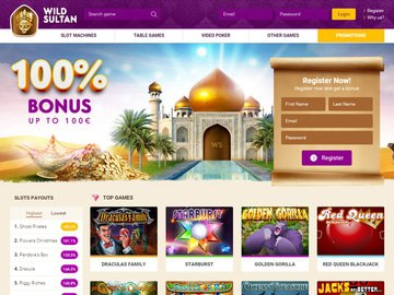 Wild Sultan Casino Homepage Preview