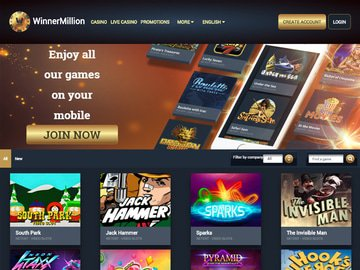 WinnerMillion Casino Homepage Preview
