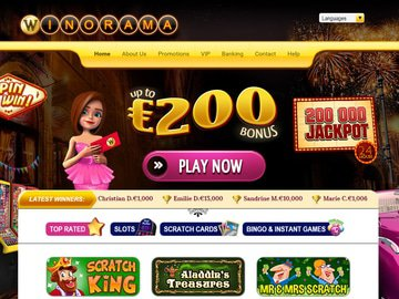 Winorama Casino Homepage Preview