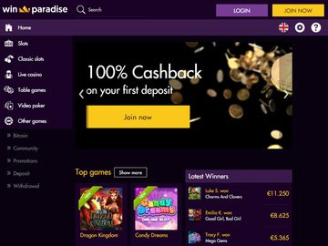 Winparadise Casino Homepage Preview