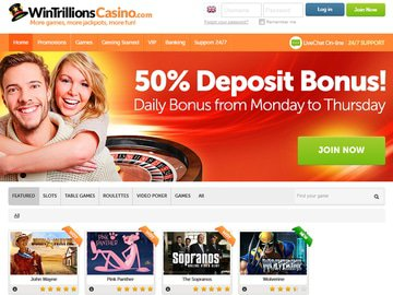 Wintrillions Casino Homepage Preview