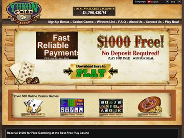 Yukon Gold Casino Homepage Preview